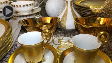 Porzellan mit Goldverzierung Manufaktur Gloria