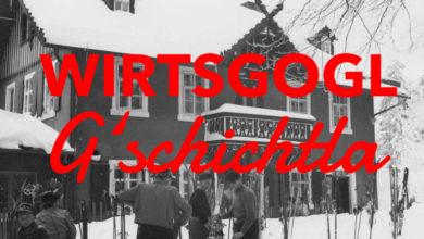Wirtsgogl Gschichtla mit Winterhütte im Hintergrund