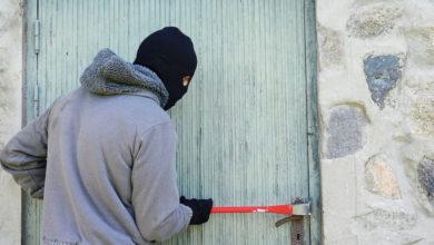 Einbrecher hebelt Tür auf