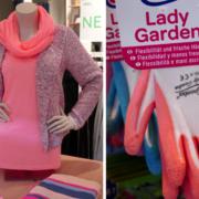 Damenklamotten und Gartenhandschuhe im Farbton Koralle