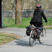 Fahrradfahrerin in Bayreuth