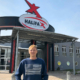 Frankenfarm-Geschäftsführer Jürgen Stübinger vor seinem neuen Catering-Großprojekt im ehemaligen Halifax.