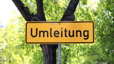 Schild Umleitung vor Bäumen