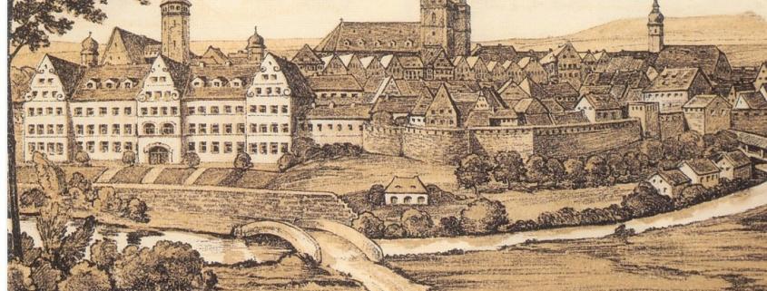 Die Stadtansicht zeigt Bayreuth um 1680. Der Hof-Musikus Georg Carl war 1675 am Hofe des Markgrafen Christian Ernst im Stadtschloss (links) in Anstellung. Foto: Archiv Bernd Mayer