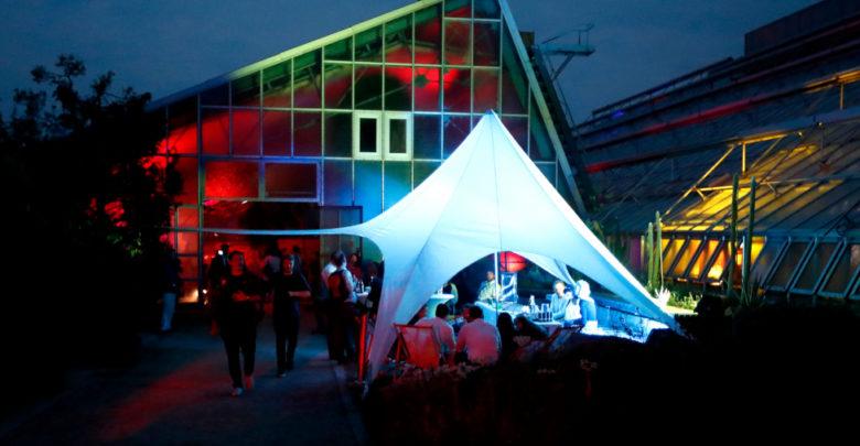 Eines der beleuchteten Gewächshäuser beim Unikat / Uni Bayreuth