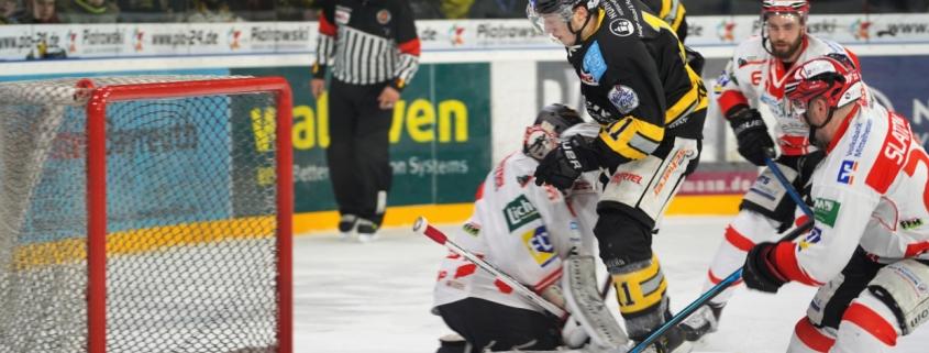 Bayreuth Tigers gegen EC Bad Nauheim: Sebastian Busch trifft auf Goalie Felix Bick. Foto: Karo Vögel