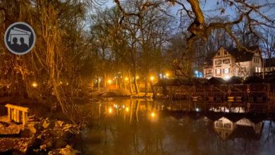 Bayreuth Röhrensee bei Nacht mit Gaststätte