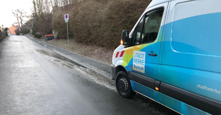 Wasserrohrbruch am Rodersberg Bayreuth. Foto: Susanne Monz