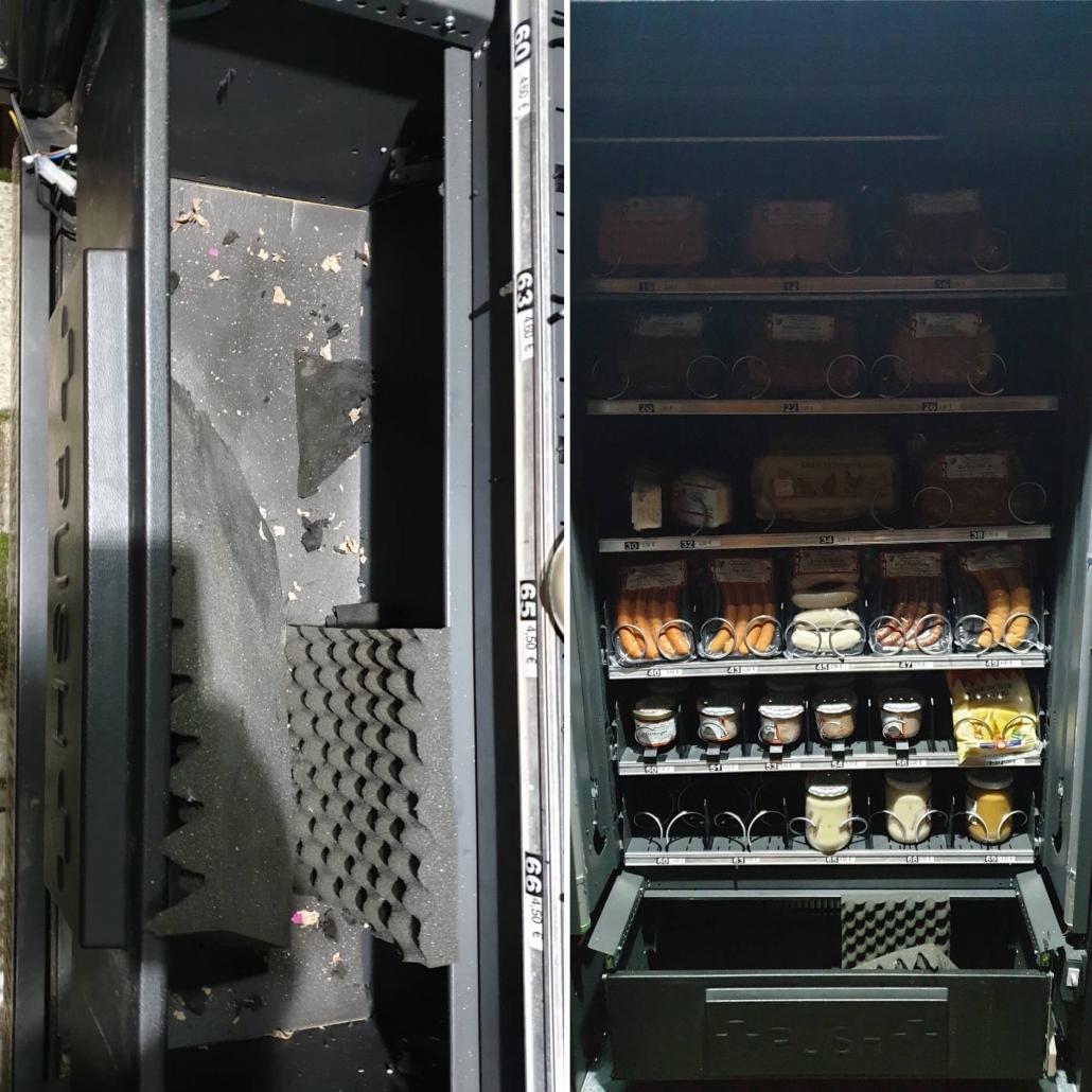 Der gesprengte Automat der Metzgerei Leipold in Bad Berneck. Foto: privat / Montage: Redaktion