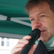 Robert Habeck: Der Bundesvorsitzende der Partei Bündnis 90/Die Grünen in Bayreuth. Foto: Raphael Weiß