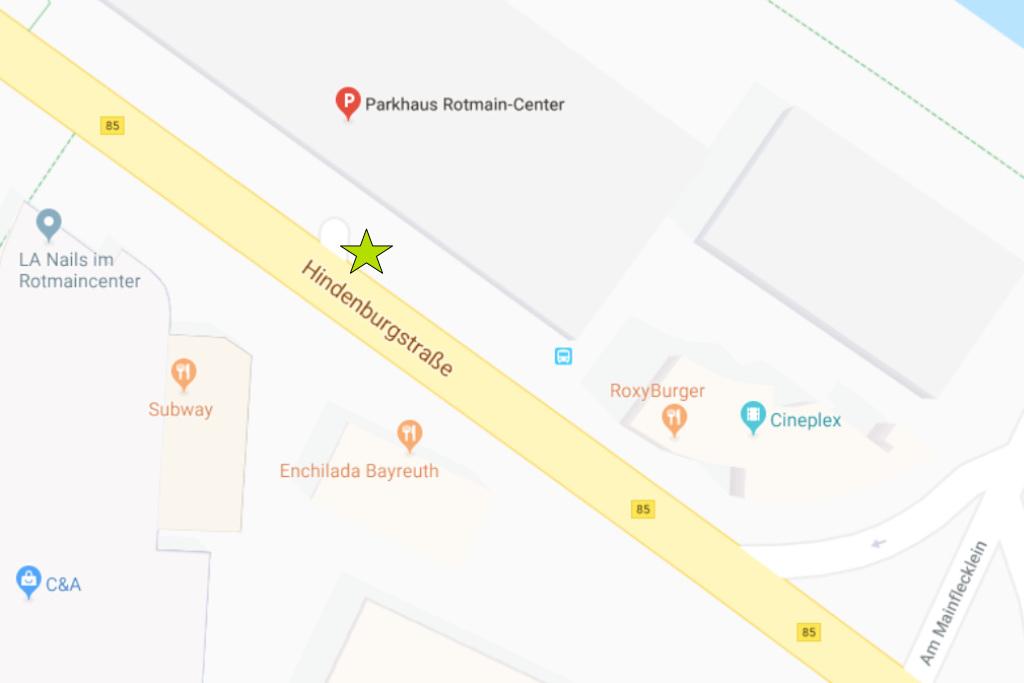 Maps, Stein vor Rotmaincenterparkhaus