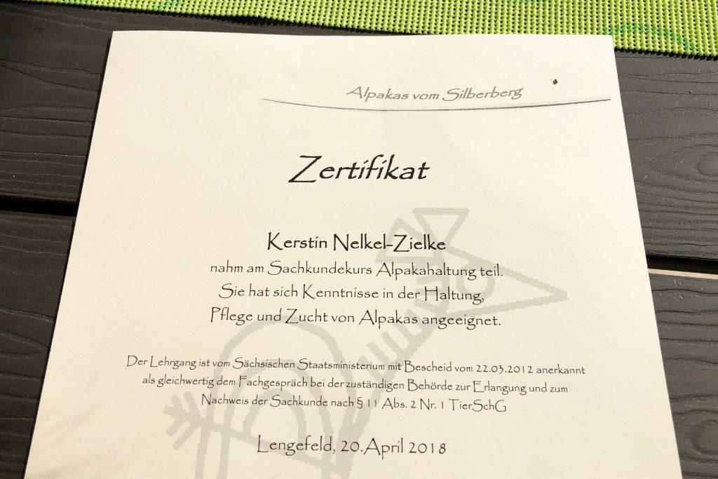 Zertifikat zur Alpakahaltung