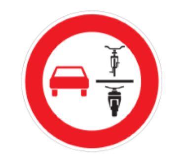 Verkehrszeichen Verbot des Überholens von einspurigen Fahrzeugen für mehrspurige Kraftfahrzeuge und Krafträder mit Beiwagen