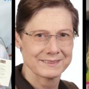 Die Vorsitzende der Grünen und Unabhängigen-Fraktion im Bayreuther Stadtrat Sabine Steininger (Mitte) mit ihren beiden Stellvertreterinnen Gabi Hemmer (links) und Louisa Hübner (rechts). Collage: Redaktion.