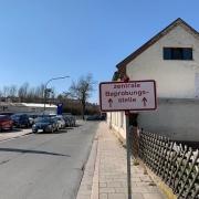 Der Weg zum ehemaligen Corona-Testzentrum in Bayreuth.