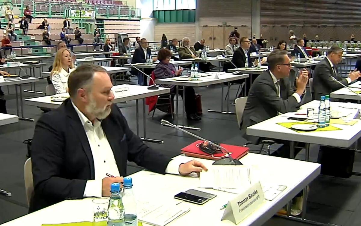 Thomas Bauske, Fraktionsvorsitzender der SPD im Bayreuther Stadtrat, bei der konstituierenden Stadtratssitzung. Foto: TVO.