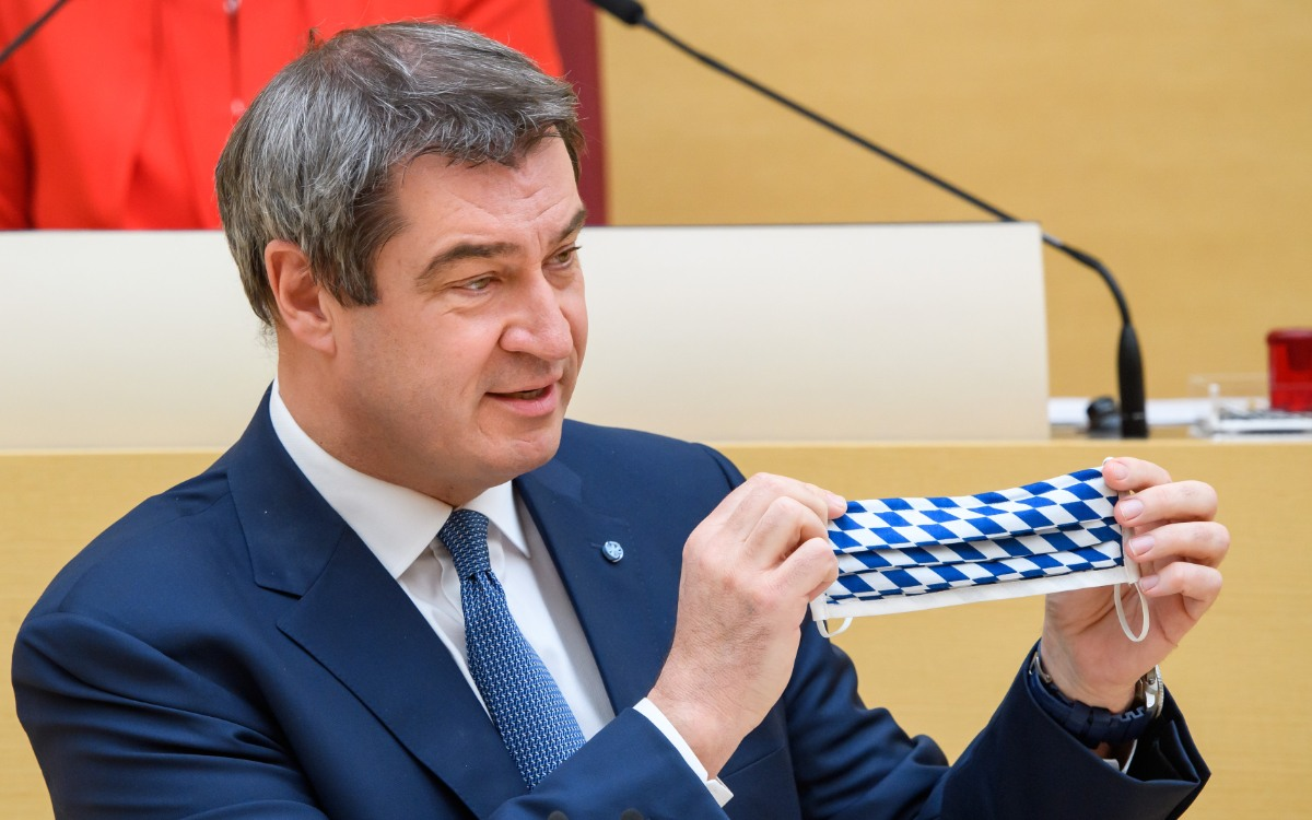 Ministerpräsident Markus Söder erklärt neue Corona-Regeln in Bayern für das Einkaufen. Symbolfoto: Bayerische Staatskanzlei