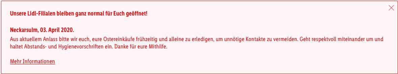 öffnungszeiten Lidl Ostersamstag
