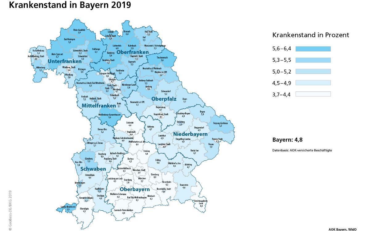Krankenstand in Bayern. Foto: AOK Bayern