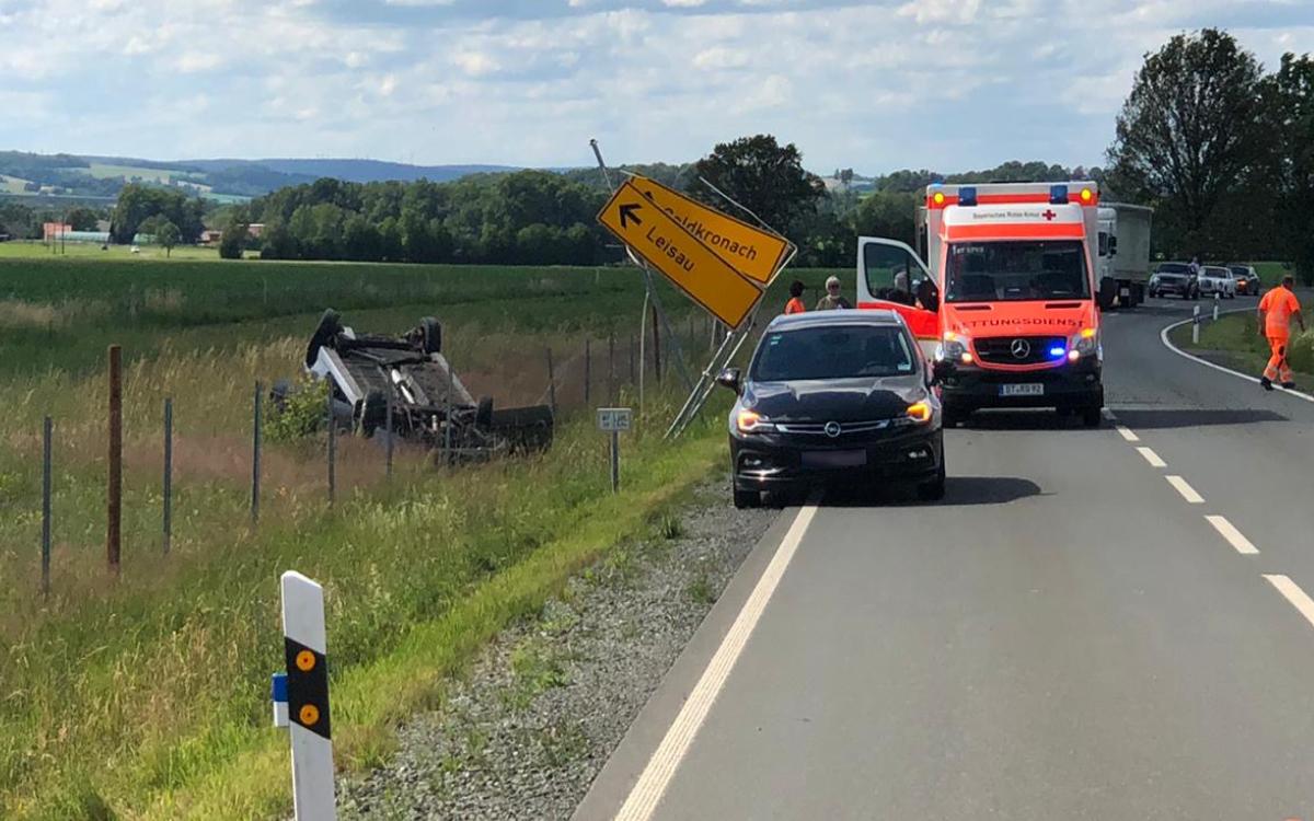 Unfall bei Goldkronach im Landkreis Bayreuth. Foto: Redaktion