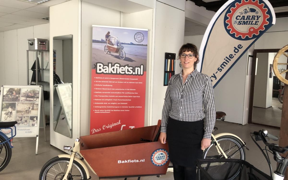Silvia Schultes freut sich über die Förderung von Lastenfahrräder Foto: Ricarda Schoop