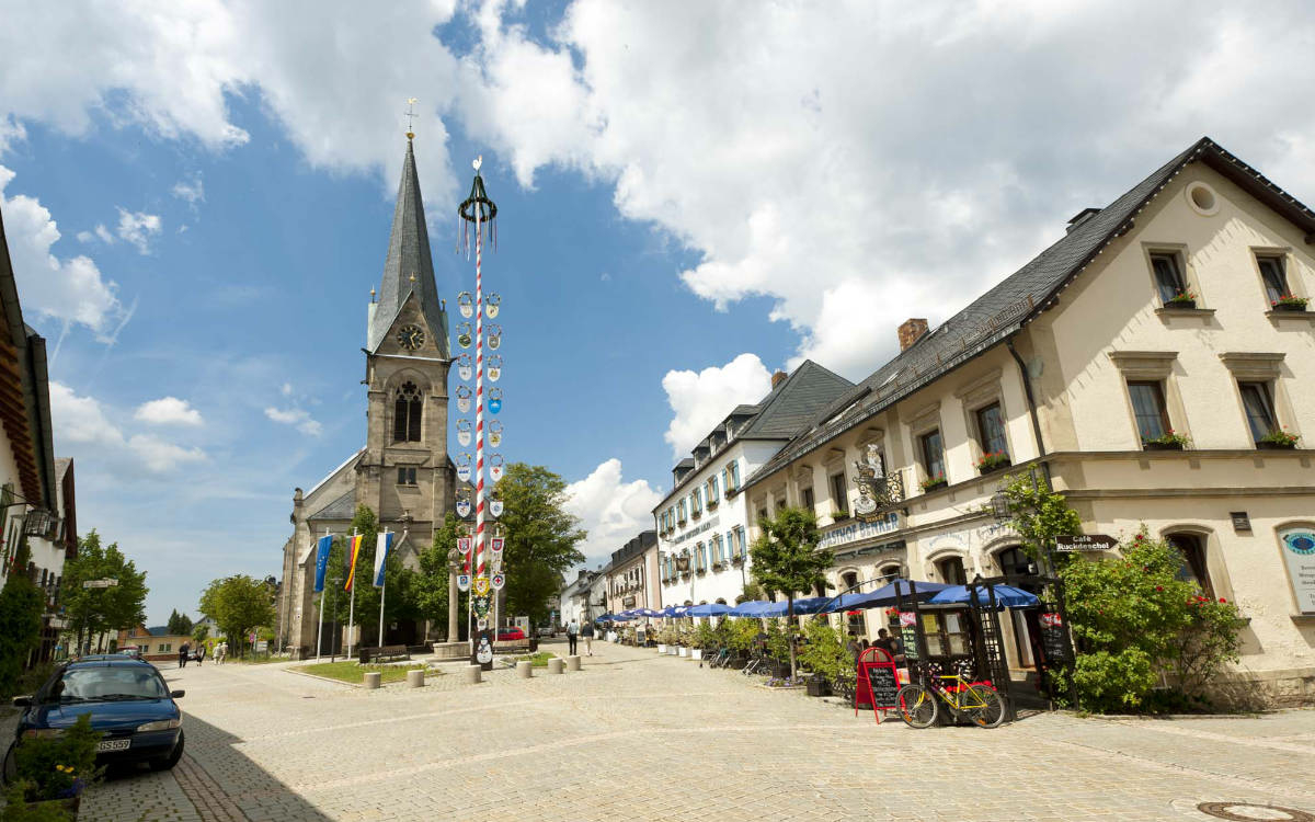 Marktplatz in Bischofsgrün. Foto: Andreas Hub