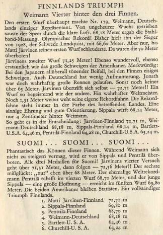 """Ein Auszug aus dem Olympia-Sammelalbum des """"Cigaretten-Bilderdienstes"""" Hamburg-Bahrenfeld aus dem Jahr 1932. Foto: Archiv Stephan Müller"""