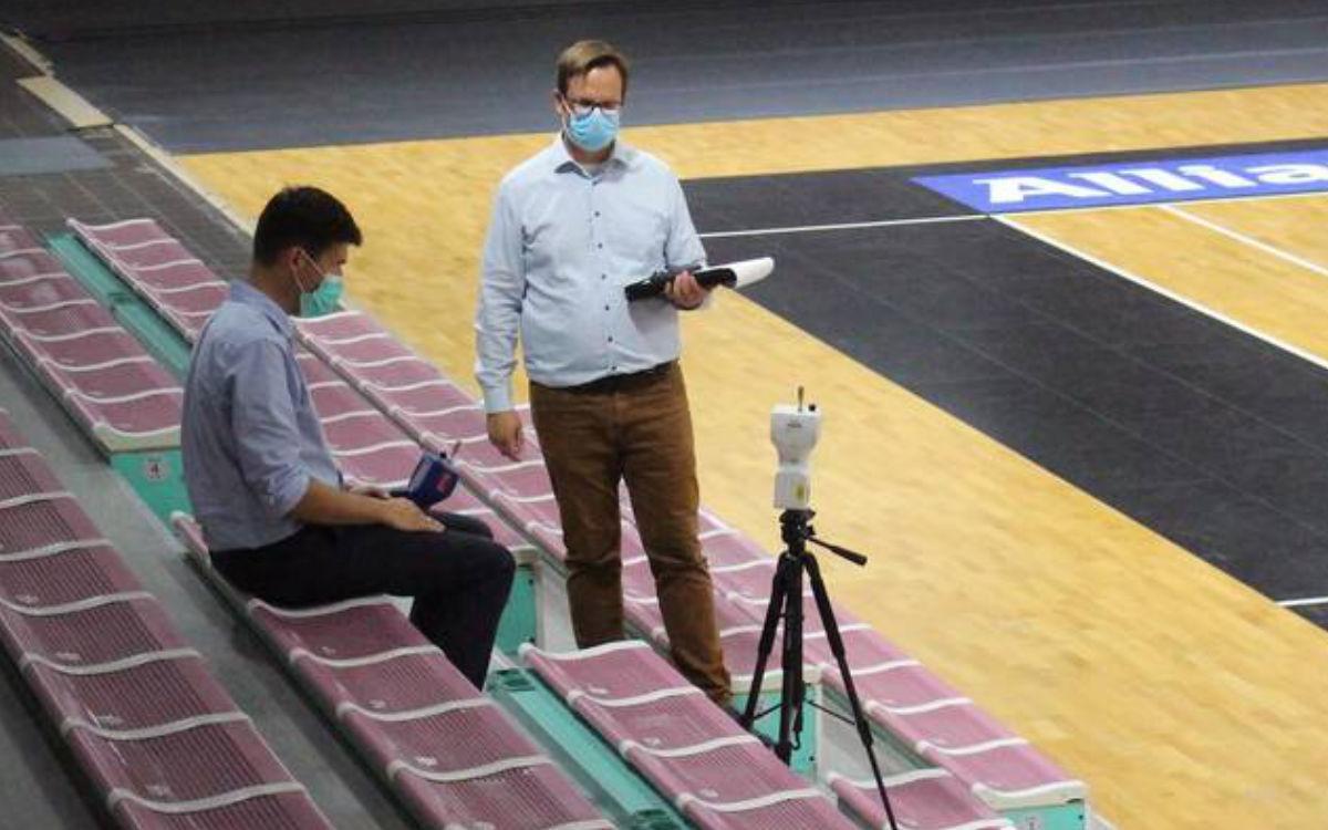 Jetzt steht fest, wie viele Zuschauer in der neuen Basketballsaison in die Oberfrankenhalle kommen dürfen. medi bayreuth und die Stadt Bayreuth hatten zuvor ein Expertenteam mit Messungen beauftragt und ein Hygienekonzept erstellt. Foto: medi bayreuth
