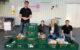 """V.l.n.r.: Tassilo Woop, Nicole Heil, Patricia Thielow und Yannik Schulz bei der Aktion """"Kauf-Eins-Mehr"""" vor dem Real in Bayreuth 2019. Foto: Rotaract Club Bayreuth"""