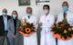 Nach 25 Jahren übergibt Chefarzt Dr. Norbert Friedel die Leitung der Klinik für Herz- und Thoraxchirurgie an seinen Nachfolger Dr. Henning F. Lausberg (rechts). Zur neuen Position gratulieren (von links) Michael Hoch, stellvertretender Personaldirektor, Pflegedirektorin Angela Dzyck, Dr. Norbert Friedel und Prof. Dr. Thomas Rupprecht, Ärztlicher Direktor der Klinikum Bayreuth GmbH. Foto: Klinikum Bayreuth GmbH