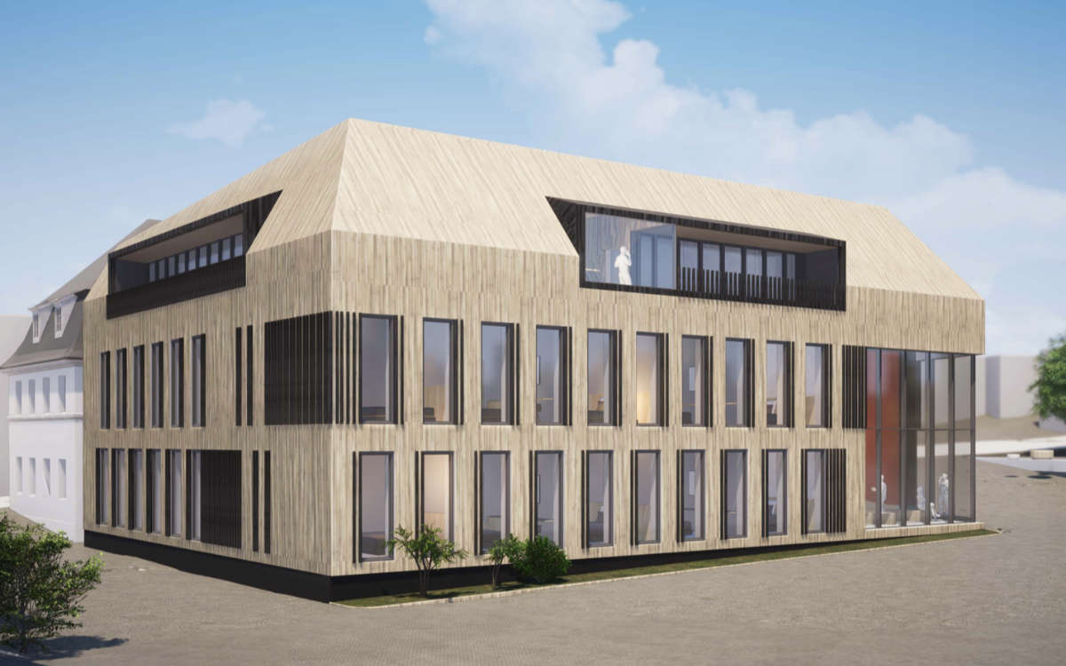 So soll das neue Smart-Hotel auf dem Gelände der Brauerei Maisel in Bayreuth von Außen aussehen. Grafik: Brauerei Maisel