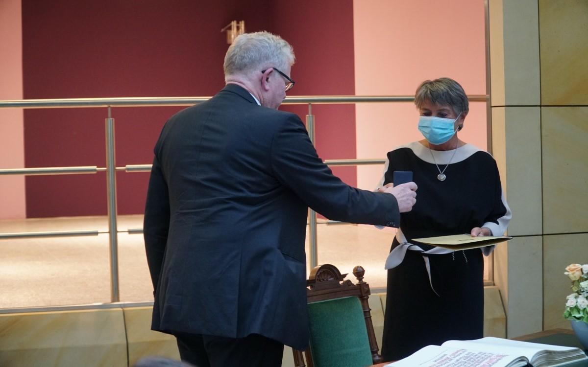 Am Freitag (2.10.2020) wurde Frau Oberbürgermeister a.D. Brigitte Merk-Erbe offiziell aus ihrem Amt verabschiedet. Foto: Raphael Weiß