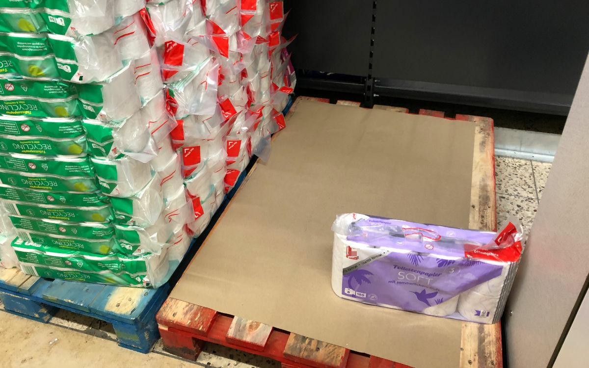 So sieht die Klopapier-Lage in Bayreuther Lebensmittelmärkten aus. Foto: Privat