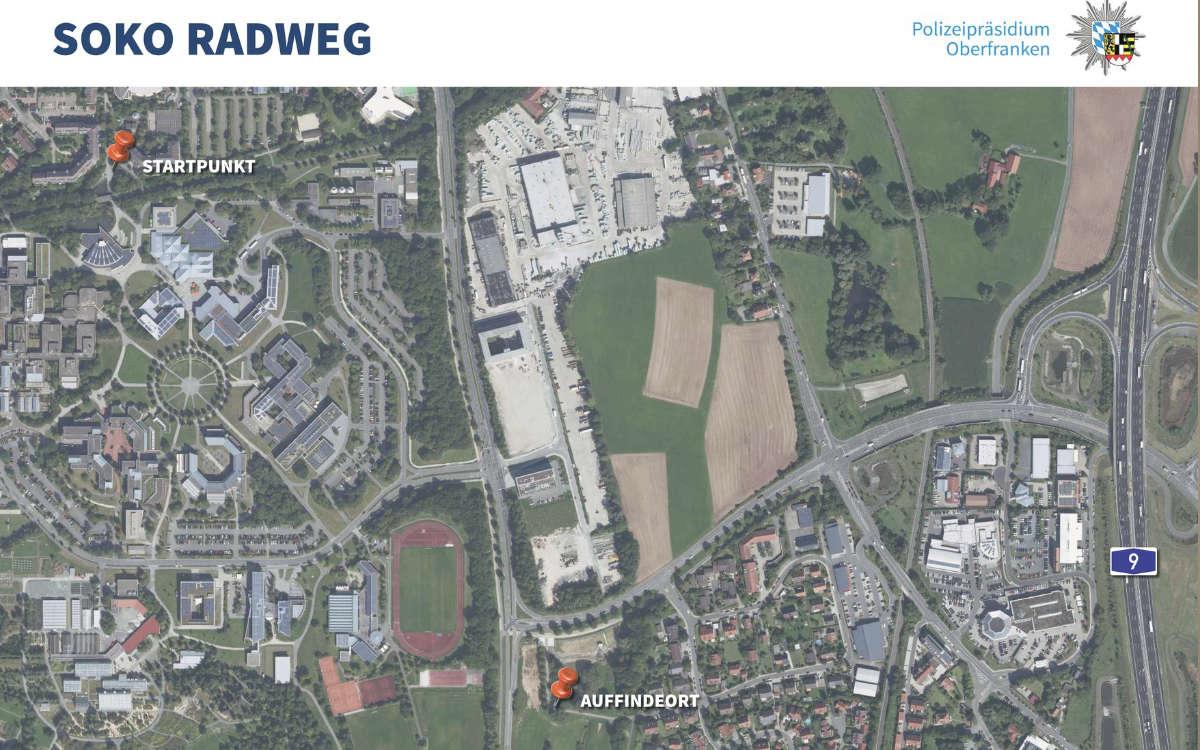 Soko Radweg: Übersicht der Örtlichkeit. Foto: Polizei