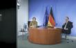 Bundeskanzlerin Angela Merkel bei der Videokonferenz mit den Regierungschefs der Bundesländer. Heute (10.2.2021) werden neue Entscheidungen getroffen. Archivfoto: Bundesregierung / Jesco Denzel