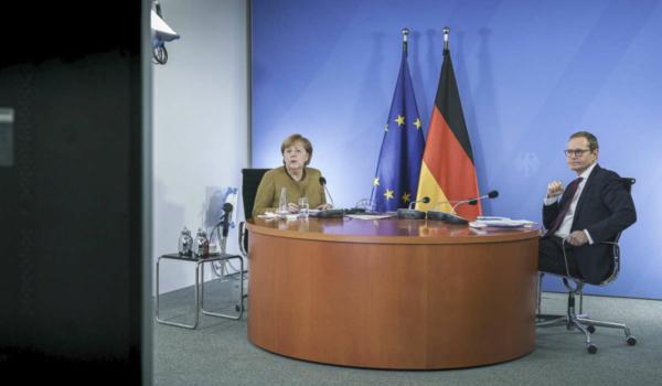 Bundeskanzlerin Angela Merkel bei der Videokonferenz mit Regierungschefinnen und Regierungschefs der Bundesländer. Archivfoto: Bundesregierung / Jesco Denzel