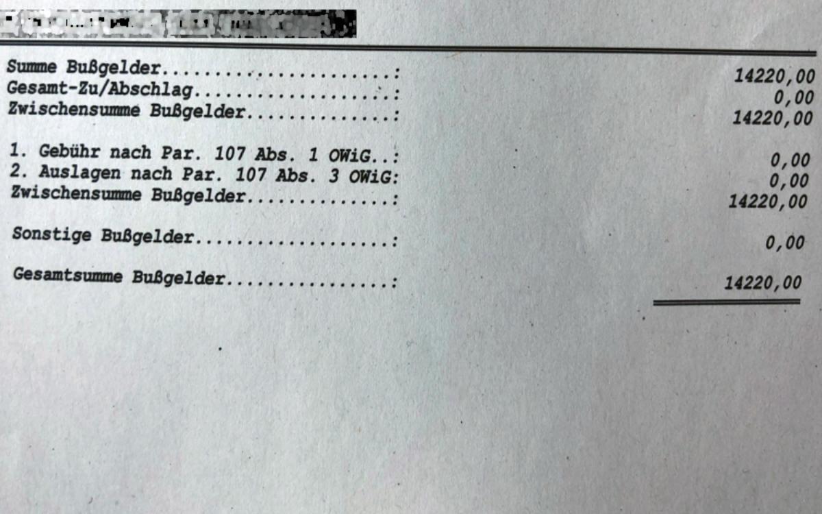 Ein Lkw-Fahrer aus dem Raum Nürnberg muss 14.220 Euro Bußgeld zahlen. Kontrolliert wurde er wegen Falschparkens. Foto: Polizei Bochum