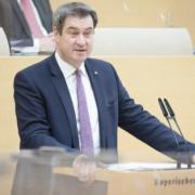 Bayerns Ministerpräsident Markus Söder äußert sich am Donnerstag (4.3.2021) zum weiteren Vorgehen Bayerns in der Corona-Pandemie. Quelle: Bildarchiv Bayerischer Landtag, Foto: Stefan Obermayer