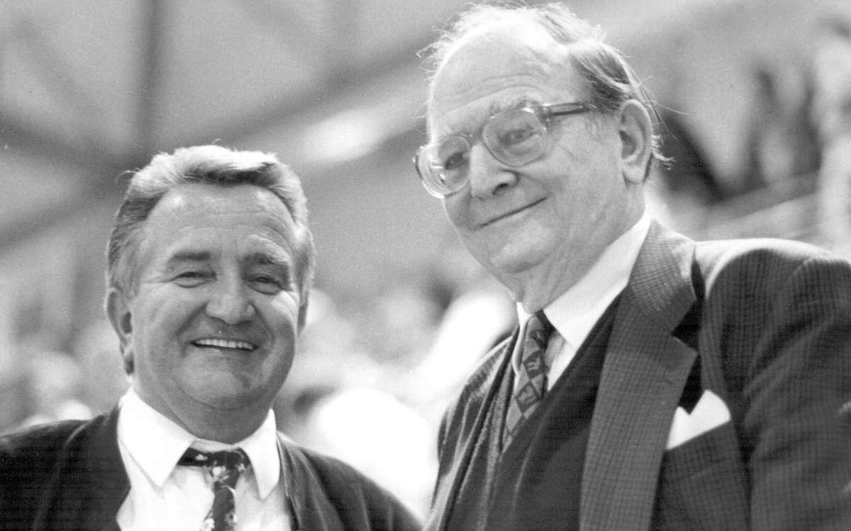 Der Oberbürgermeister und sein Sportamtsleiter. Hans Walter Wild mit Manfred Kreitmeier. Foto: Stephan Müller.