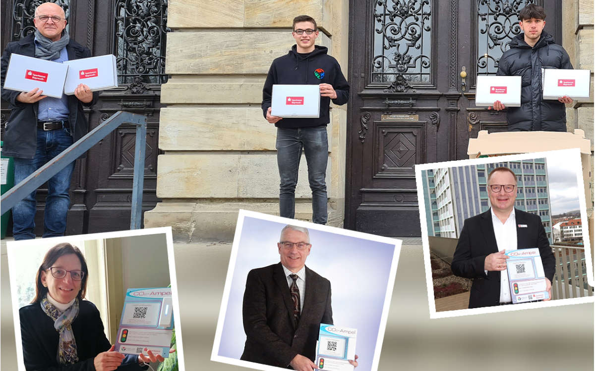 Die Sparkasse Bayreuth spendet CO2-Ampeln an Bayreuther Schulen. Foto: Sparkasse Bayreuth