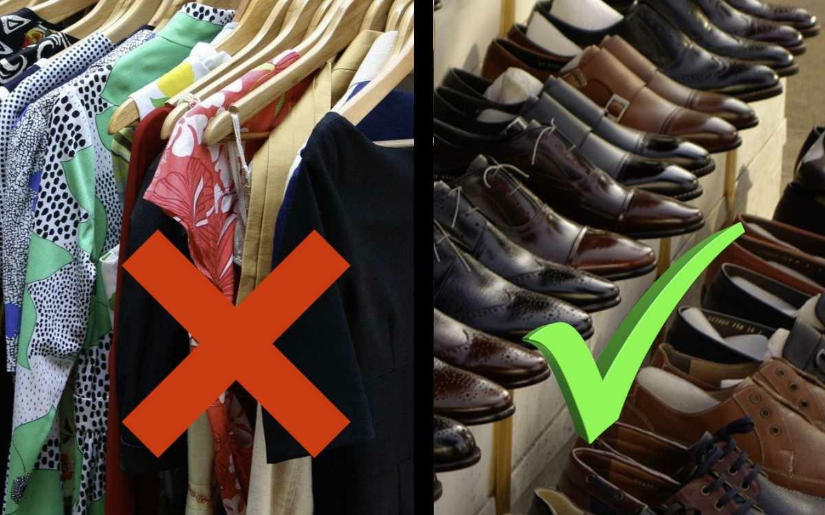 Schuhgeschäfte in Bayern dürfen unabhängig der Inzidenz öffnen, Klamottengeschäfte nicht. Symbolfotos: Pixabay (Montage: Redaktion)