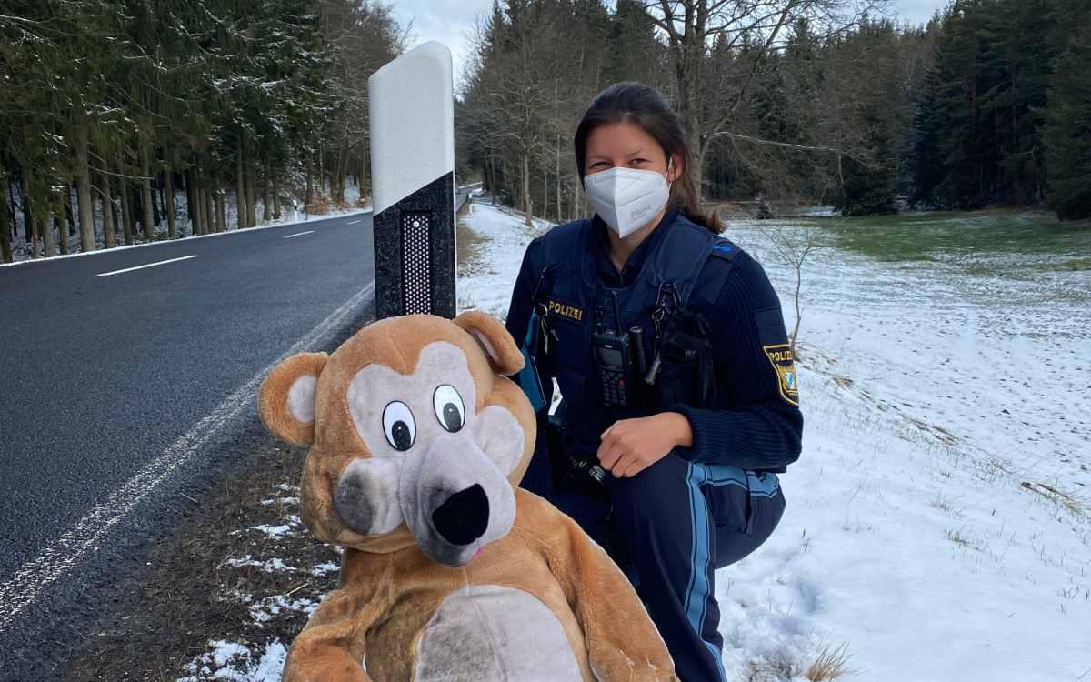 Mitfahrgelegenheit der plüschigen Art: Teddybär am Straßenrand zwischen Höchstädt im Fichtelgebirge und Marktleuthen. Bildquelle: Polizeiinspektion Marktredwitz