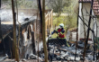 In Bayreuth stand ein Holzschuppen in Flammen. Foto: Feuerwehr Bindlach