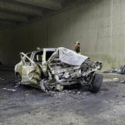 Tödlicher Unfall im Landkreis Forchheim: Ein Mann ist in seinem Auto verbrannt. Foto: News5/Merzbach