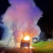 Auf der A70 bei Wonsees ist am Freitagabend (21. Mai) ein Auto ausgebrannt. Bild: Verkehrspolizei Bayreuth