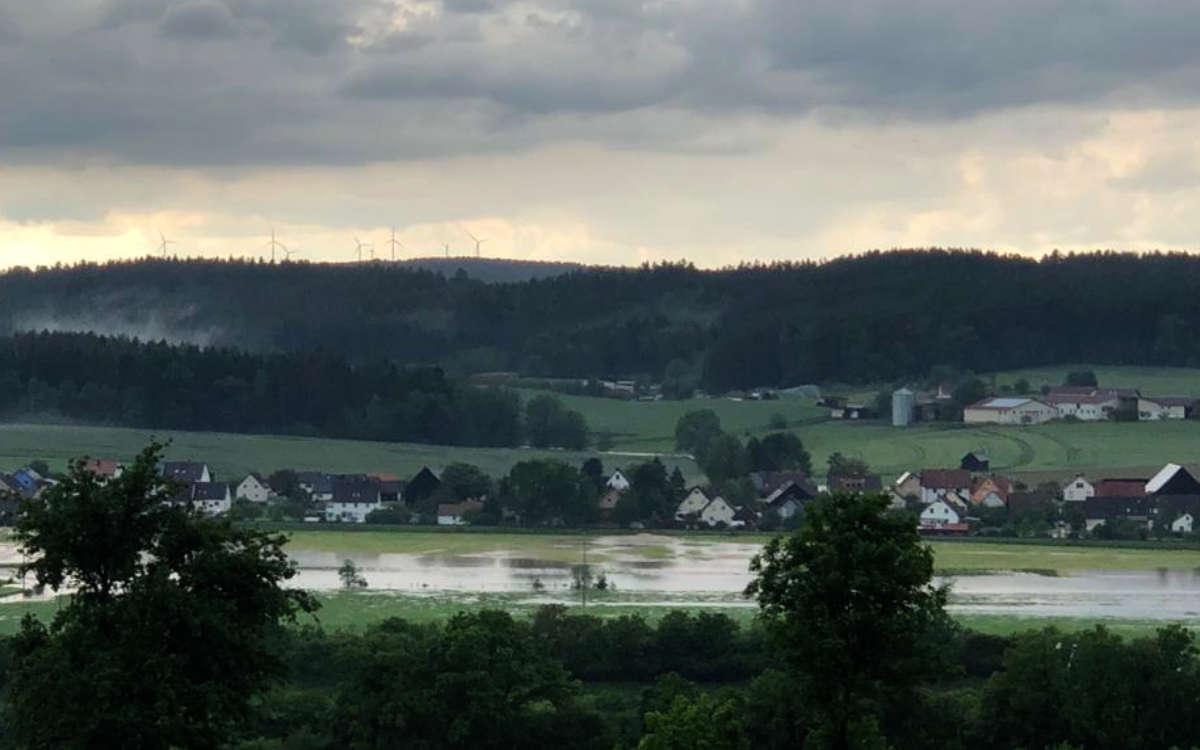 Hochwasser in Bindlach: Der Starkregen hat auch den Gemeindeteil Gemein heimgesucht. Bild: privat