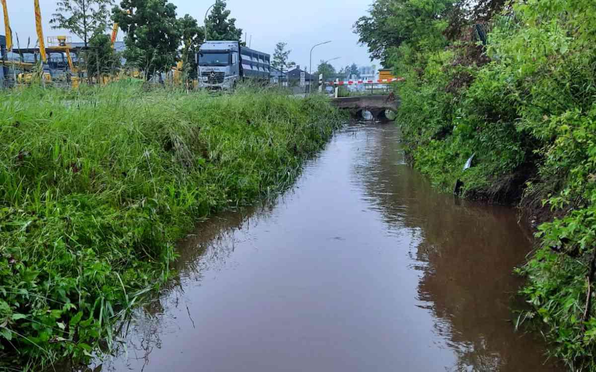 Der Flußgraben neben der Bindlacher St.-Georgen-Straße: Auch am Morgen nach der Überschwemmung. Bild: Jürgen Lenkeit