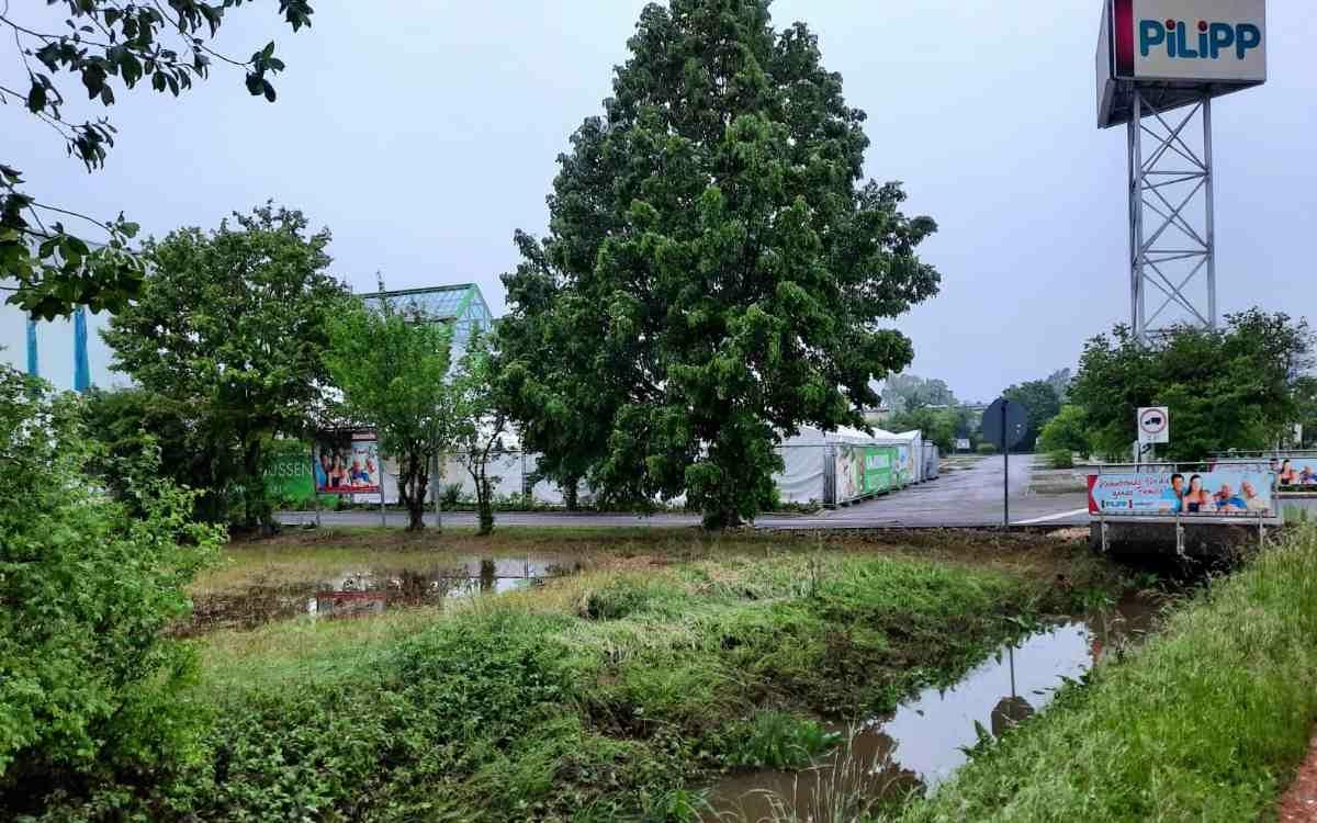 Möbelhaus in Bindlach nach der Überschwemmung. Der Flußgraben vor dem Haus und die Wiese auf dem Nachbargrundstück sind teilweise noch überschwemmt. Bild: Jürgen Lenkeit