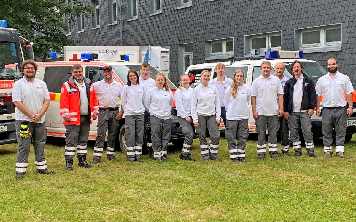 Diese Helfer aus Hollfeld wollten das Hochwasser-Gebiet in Rheinland-Pfalz nicht verlassen. Foto: BRK Bayreuth