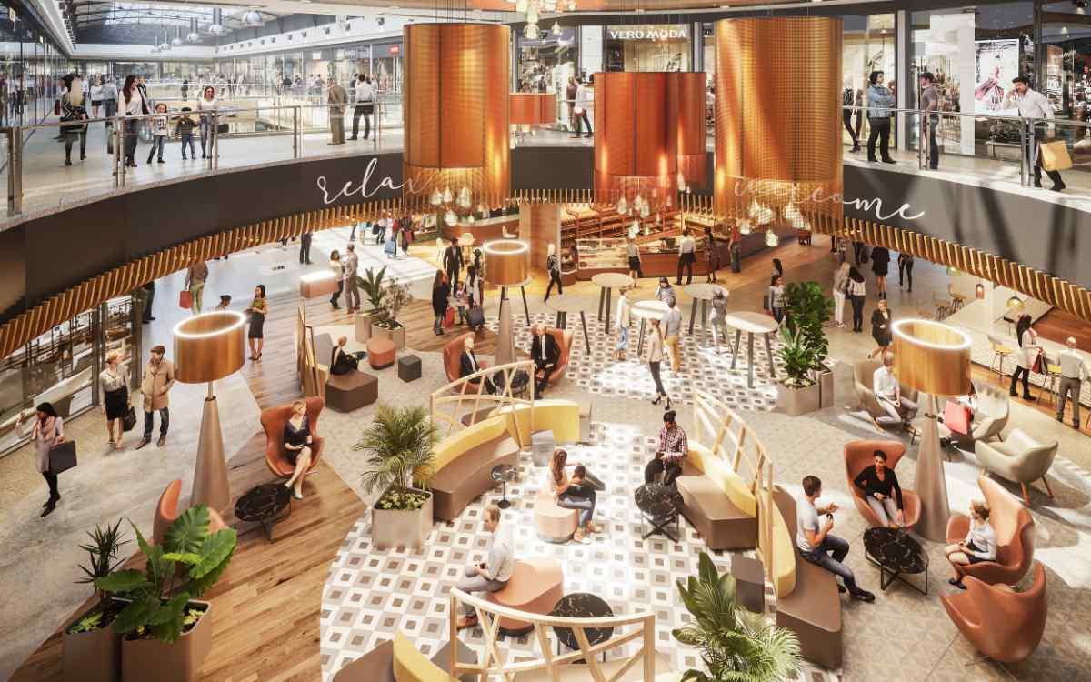 So soll die neue Lounge-Area im Erdgeschoss des Rotmain-Centers aussehen. Bild: Rotmain-Center Bayreuth